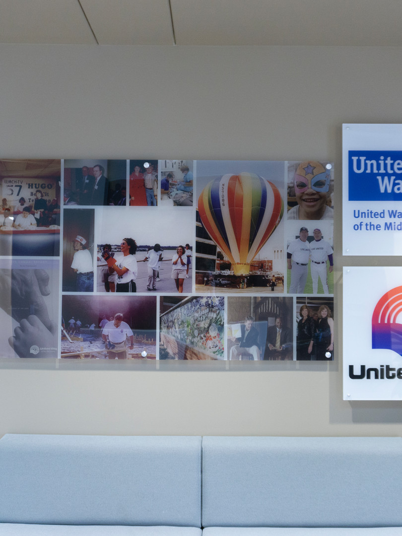 Lobby Timeline art printed with UV Cured inks on clear acrylic