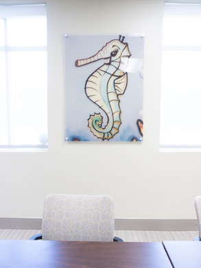 These images are photographs of a mural created for the children's dental clinic at WellPartners by local artist Alex Denka. Art image is printed with UV cured inks on clear acrylic.