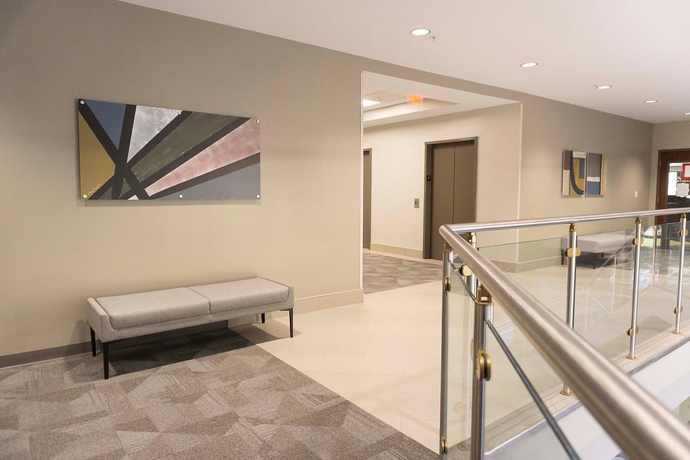 Geometric Art, Bench seating, Furniture, Glass Stairwell, Tile, Geometric Carpet