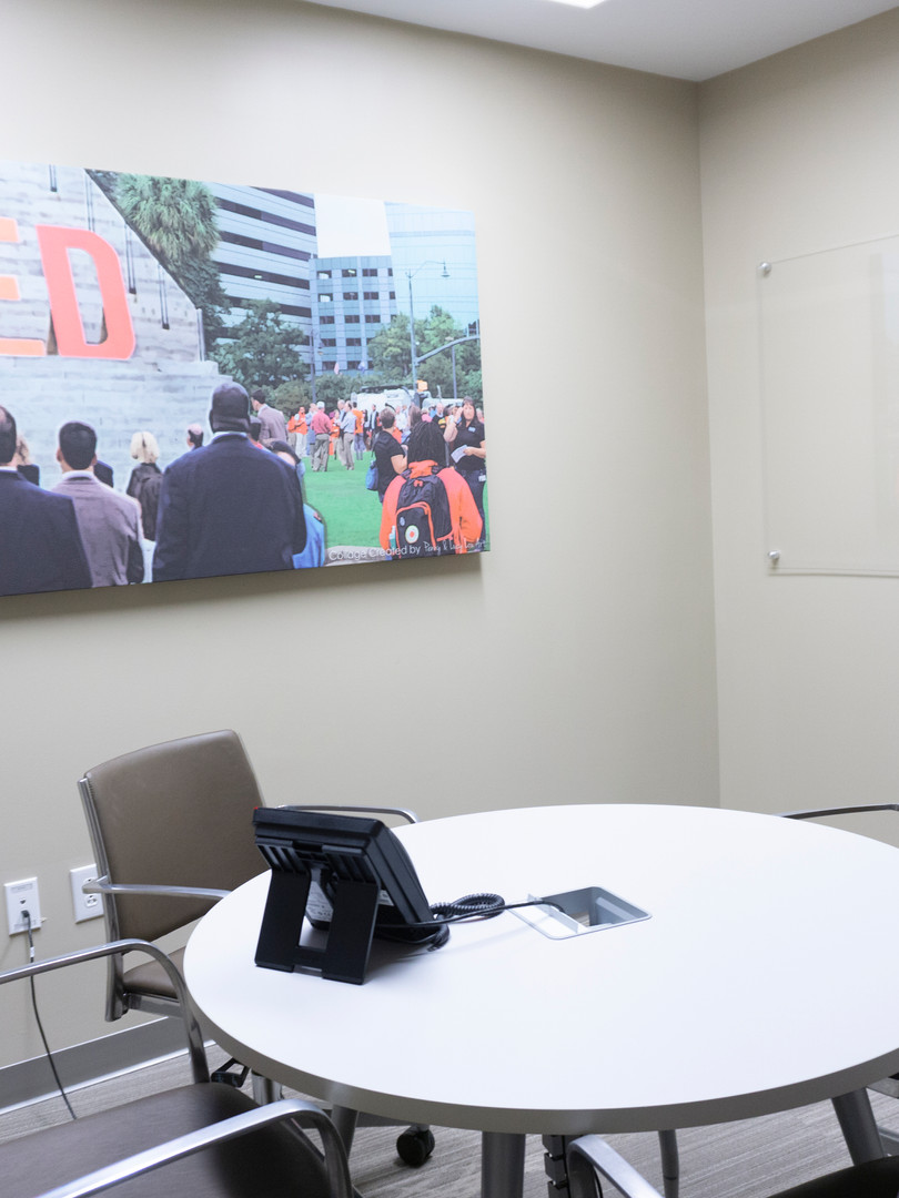 CEO Conference Room  Custom printed fabric wrapped acoustical panels = Art with Benefits