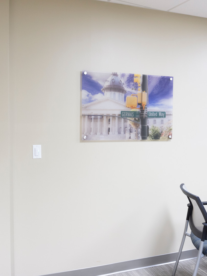 South Carolina State House at the corner of United Way. Art image is printed with UV cured inks on clear acrylic.