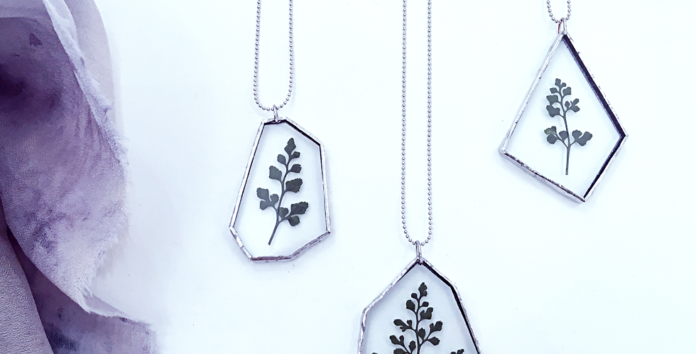 FOREST NECKLACE . FERN . ADIANTUM . SILVER