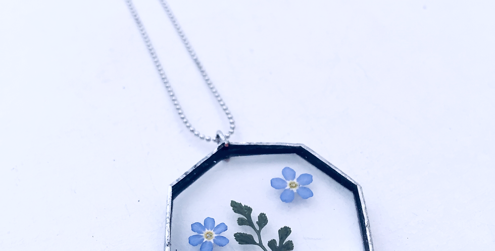 FOREST NECKLACE . FERN+FORGETMENOT . SILVER
