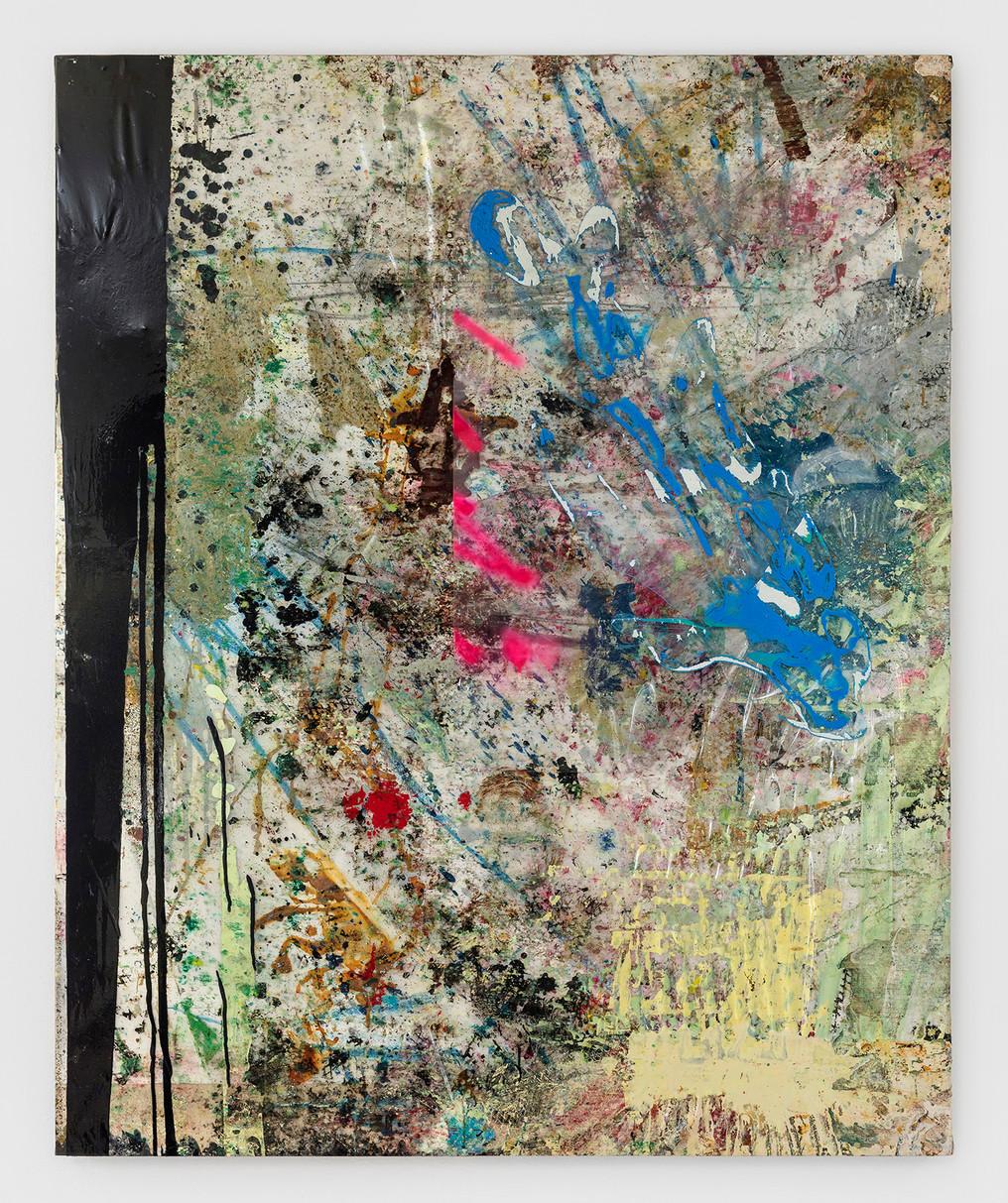 sem título 2018 óleo, esmalte, papel algodão, lona plástica sobre madeira 160x130cm