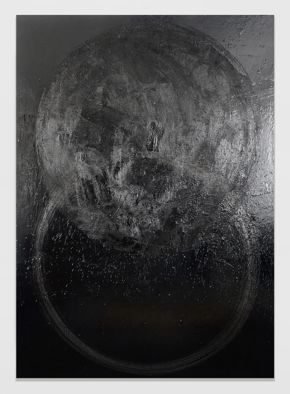 sem título 2016 esmalte, piche e grafite sobre madeira 220x160cm