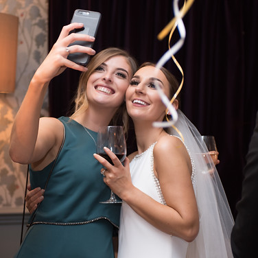 bride and bridesmaid selfies