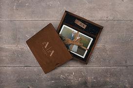 Wedding photos presented in a wooden box