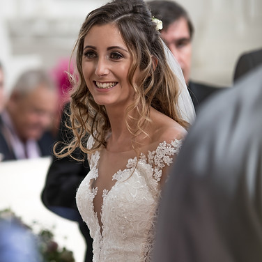 happy bride smiling after getting married