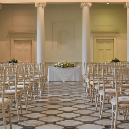 weeding room ready for ceremony at Compton verny