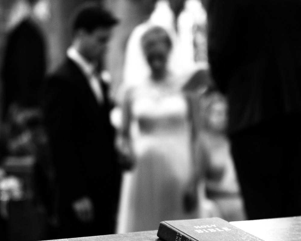 black and white church ceremony wedding in Shrewsbury