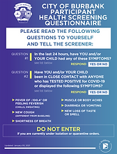 City of Burbank Participant Health Screening Questionnaire