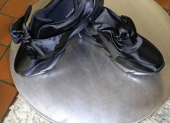 black satin bow shoe