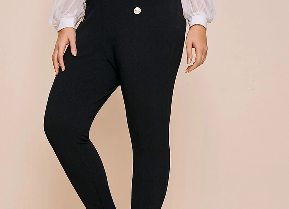 double button skinny pant
