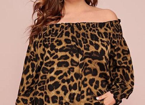 off shldr blouse leopard print