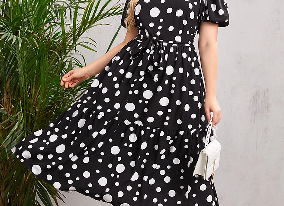 polka dot flair dress