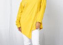 Off Shldr Mustard zipper shirt