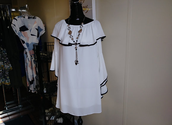 white dress blk ruffle trim