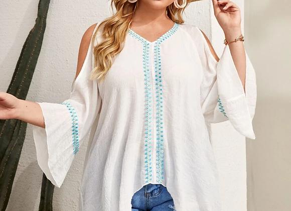 Cold shoulder flounce blouse