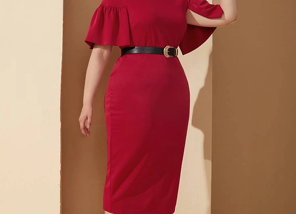 red slit sleeve dress