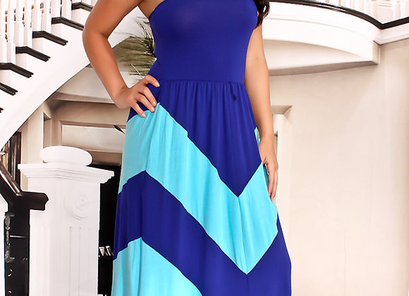 blue multi color halter dress