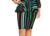 black stripe peplum dress