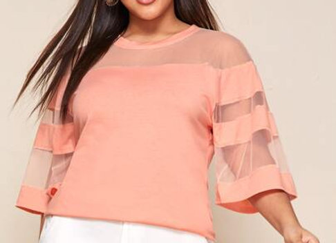 peach sheer sleeve
