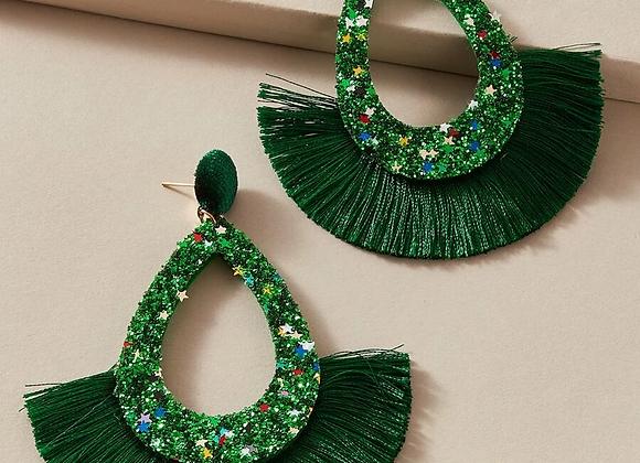 emerald fringe earring