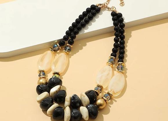 black stone layered necklace