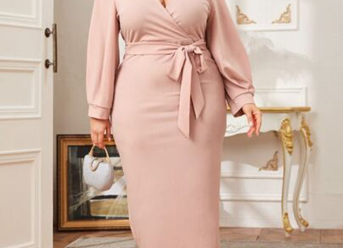 Peach Belted Wrap Dress