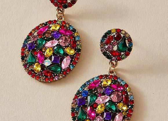 multi rhinestone earring