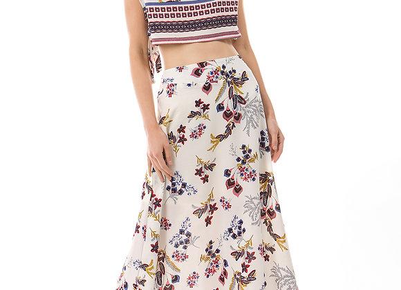 2pc crop top long skirt