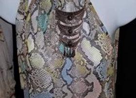 Snakeskin print shirt w/ribbon