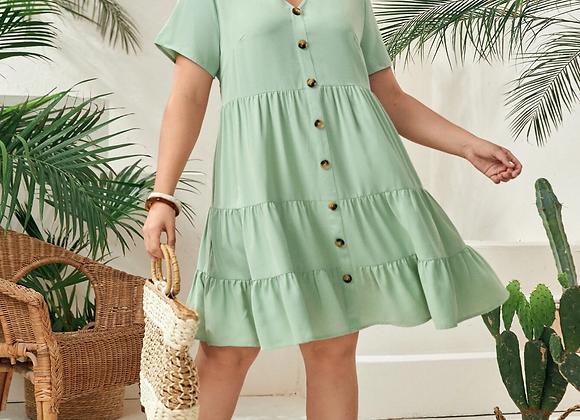 Sage Button Down Babydoll Dress
