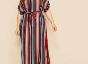 Stripe maxi dress w/Belt
