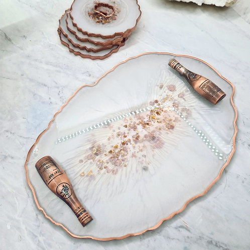 Rose Gold Resin Tray with Handles