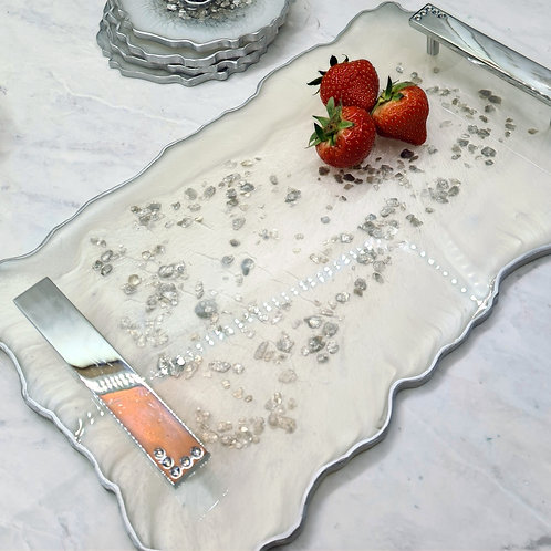Silver Resin Tray with Handles