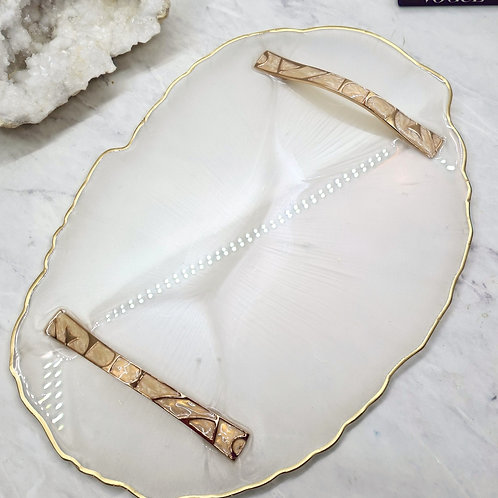 Gold Resin Tray with Handles