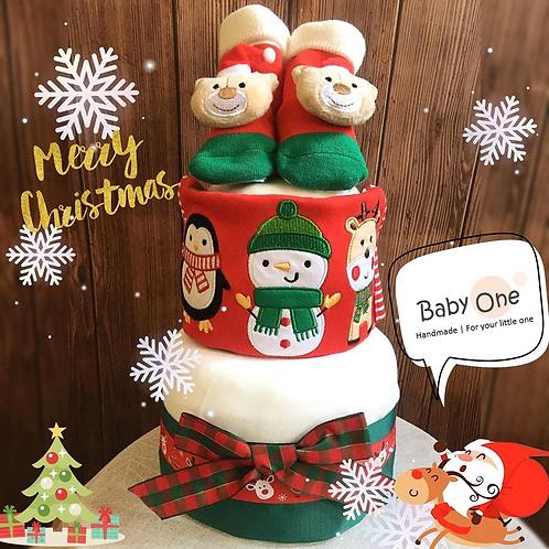 聖誕雙層迷你尿片蛋糕 (DCS - 1904)