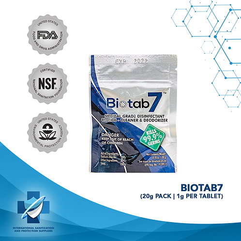 Biotab7   Ultimate Disinfectant   Pouch of 20 x 1gm Tablets   US EPA REGISTERED