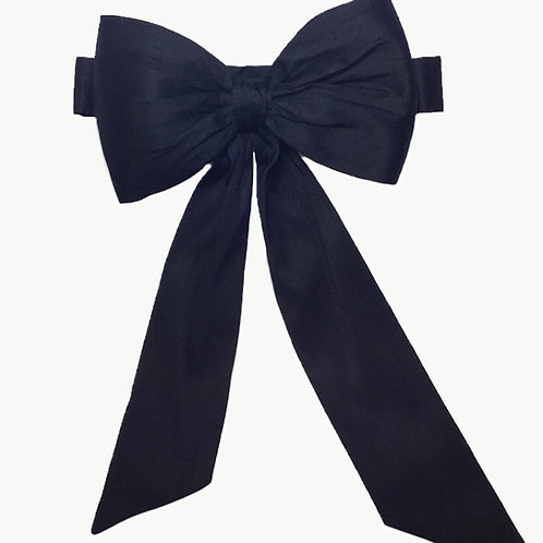 Silk Big Bow - Black or Pale Ivory