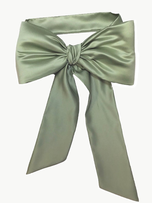 Satin Big Bow - Vintage Green