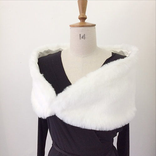 Faux Fur Wrap - Ivory or Black