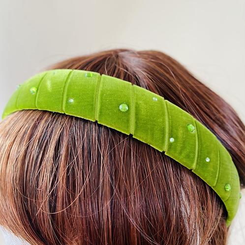 Velvet Head Band Apple Green