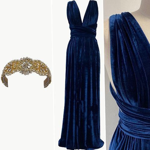 Midnight Blue Stretch Velvet Dress