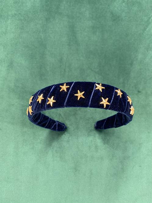 Velvet Head Band dark Navy Blue