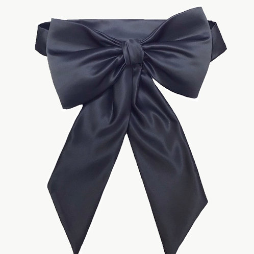 Satin Big Bow -Gunmetal Grey