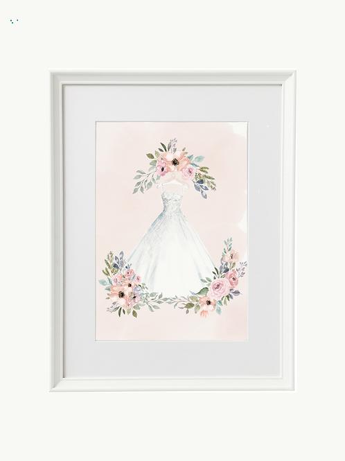 Framed Illustration of Your Wedding Dress