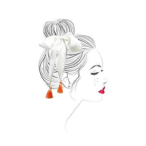 Silk bow & tassel hair accessories