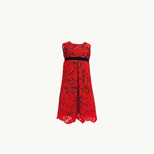 Mia Flower Girl Red Lace over Navy satin