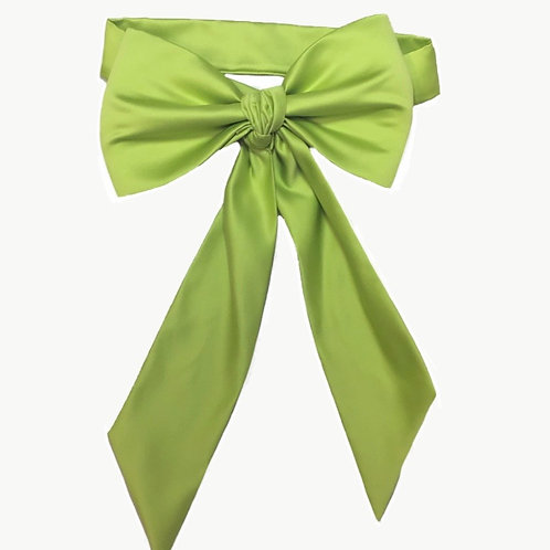 Satin Big Bow - Apple green